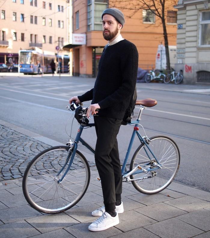 hipster polonais pantalon slim jogging basket blanches puma suède bonnet vélo
