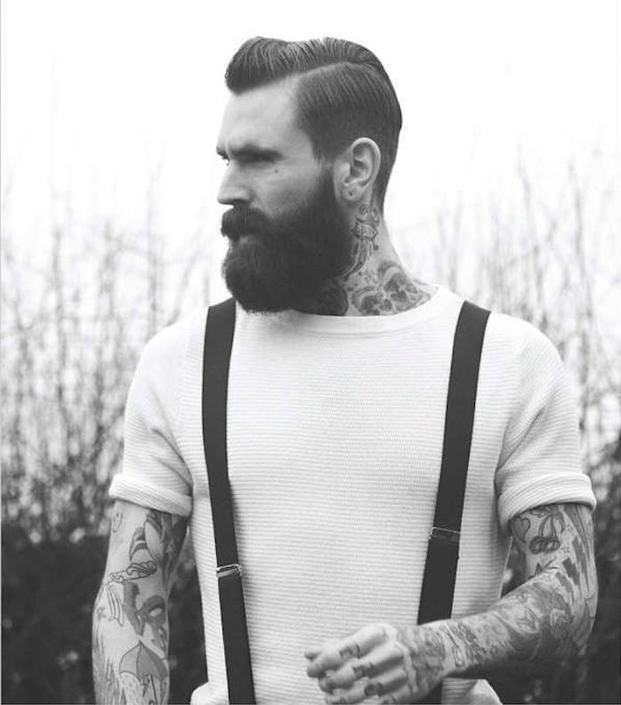homme-hipster-vetement-chaussure-bretelles-coupe-de-cheveux-homme-court-sur-les-cotes-long-dessus-pompadour-soin-barbe-longue-tattoos-tatouages