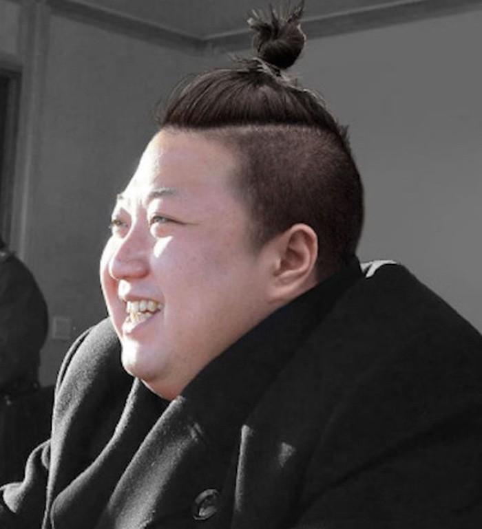 humour-kim-jong-coree-man-bun-cheveux-longs