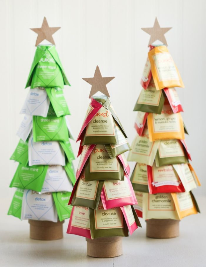 idée cadeau a fabriquer sois meme exemple sapin de noel original diy en sachets de thé cadeau de noel meilleure amie