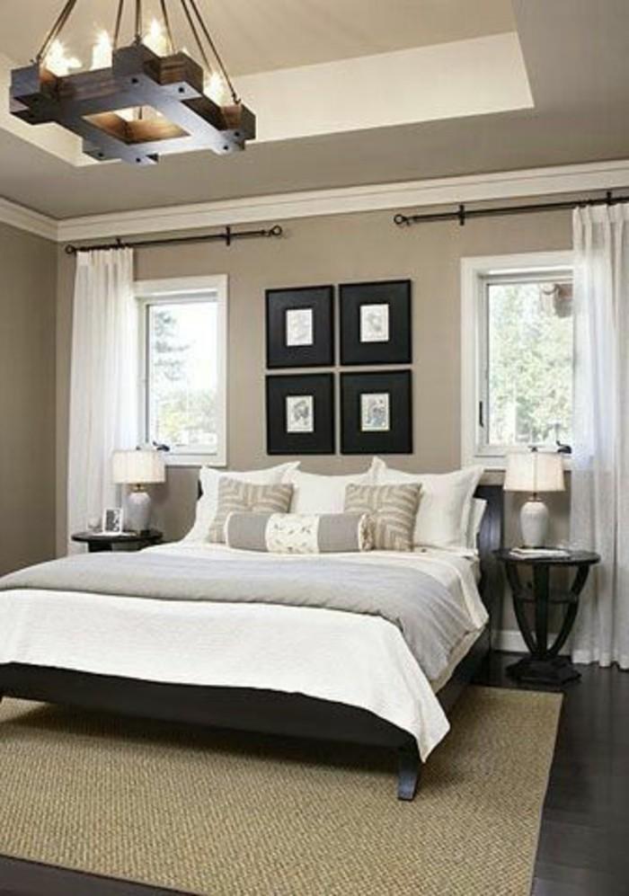 idee-peinture-chambre-adulte-parquet-noir-murs-en-taupe-plafond-suspendu-peintures-en-cadres-noirs