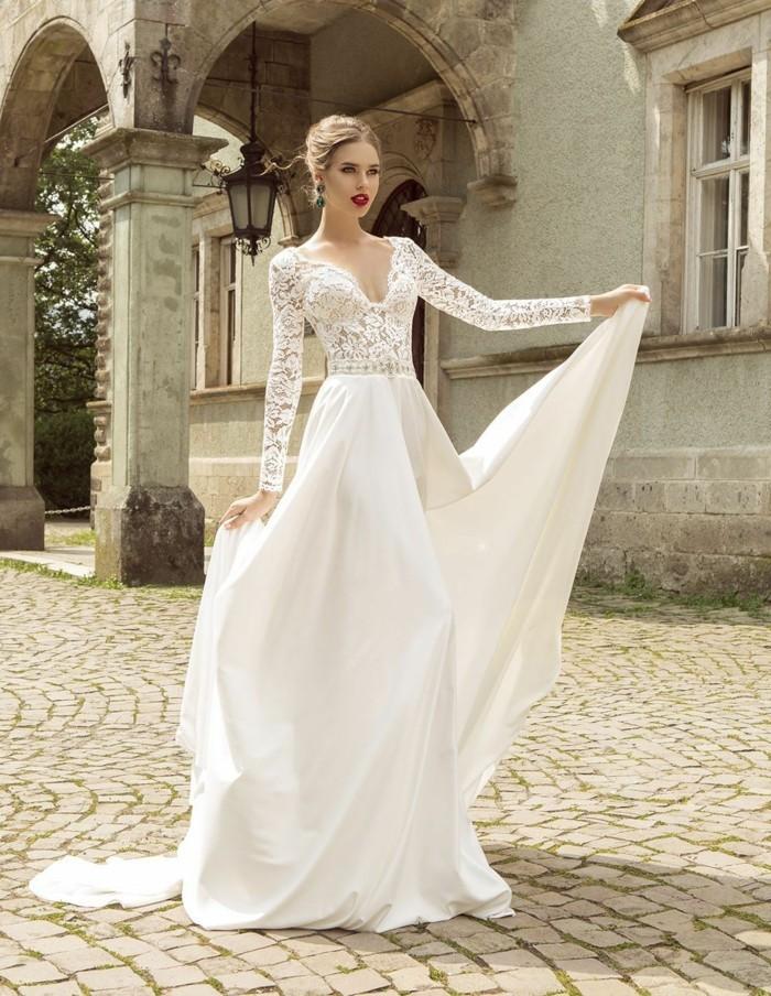 idee-quelle-robe-de-mariee-avec-manche-dentelle-grande-jupe
