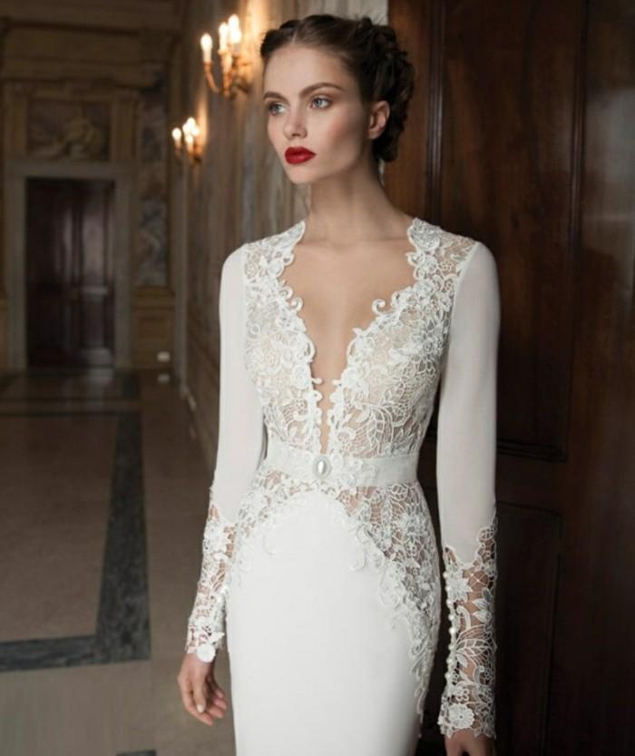 idee-quelle-robe-de-mariee-avec-manche-dentelle-vintage-look-elegante