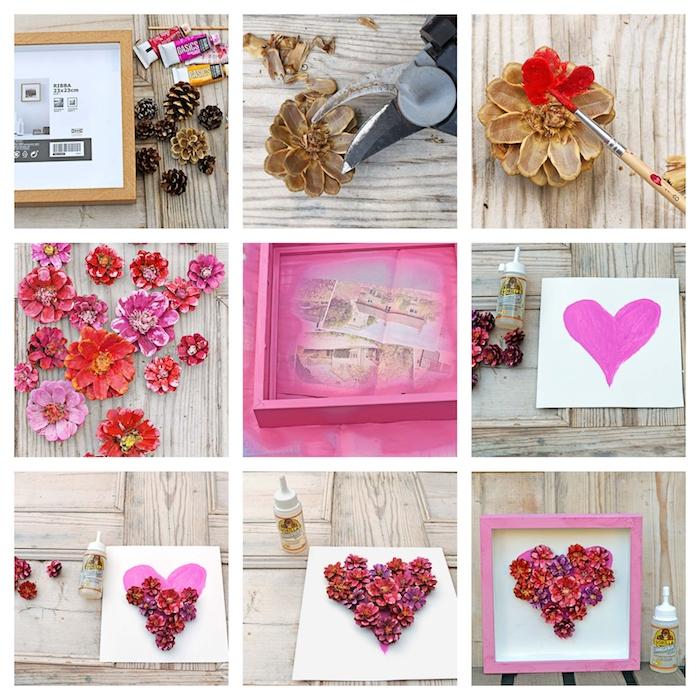 idee décoration maison a faire soi meme, coeur en pommes de pin colorés dans cadre repeint en rose, que faire avec des pommes de pin, cadeau copine