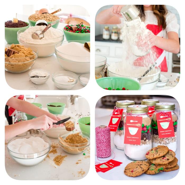 comment faire un cadeau diy pot en verre rempli d ingredients pour cookies maison, farine, sucre, pepites de chocolat m&ms
