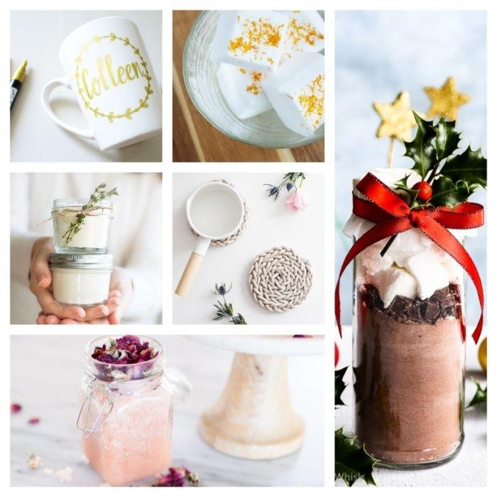 idees cadeau de noel a fabriquer soi meme savons gommage bougies tasse décoré ingredients pour cacao