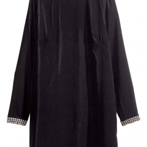 Robe en velours avec manches, courte et droite