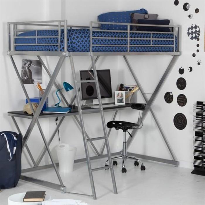 Lit en hauteur avec bureau int gr les atouts ind niables illustr s en 39 p - Lit mezzanine metal avec bureau ...