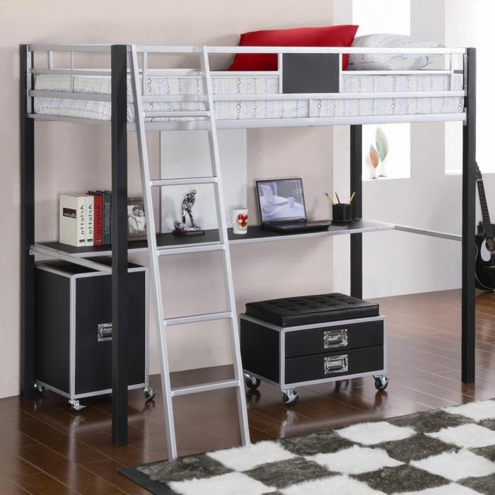 Lit en hauteur avec bureau int gr les atouts - Lit mezzanine noir avec bureau ...