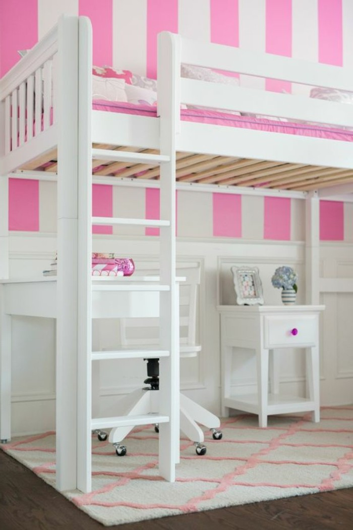 lit mezzanine rose et blanc id e inspirante. Black Bedroom Furniture Sets. Home Design Ideas