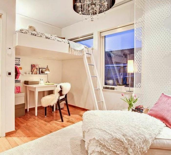 Lit en hauteur avec bureau lit superpose blanc