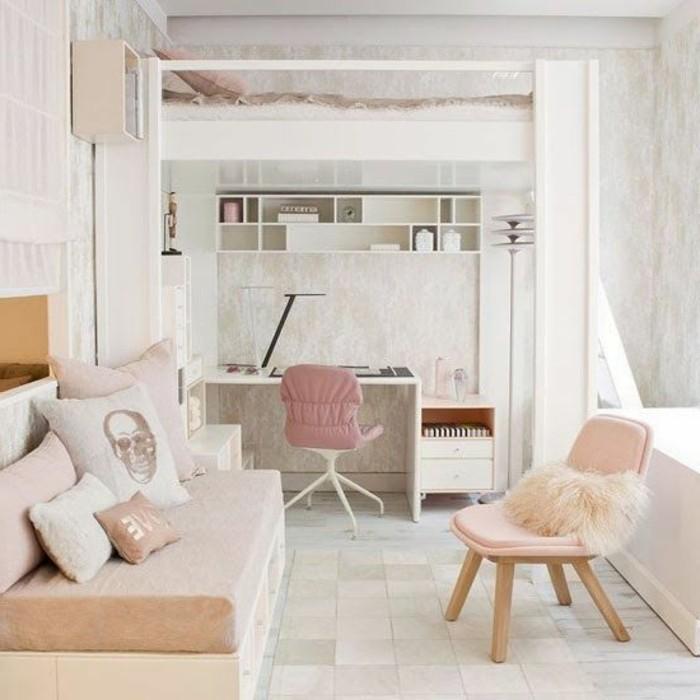 Lit en hauteur et bureau lit superpose blanc