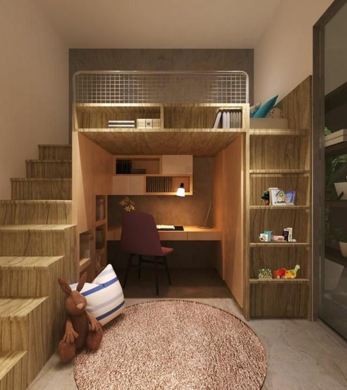 lit en hauteur avec bureau int gr les atouts. Black Bedroom Furniture Sets. Home Design Ideas