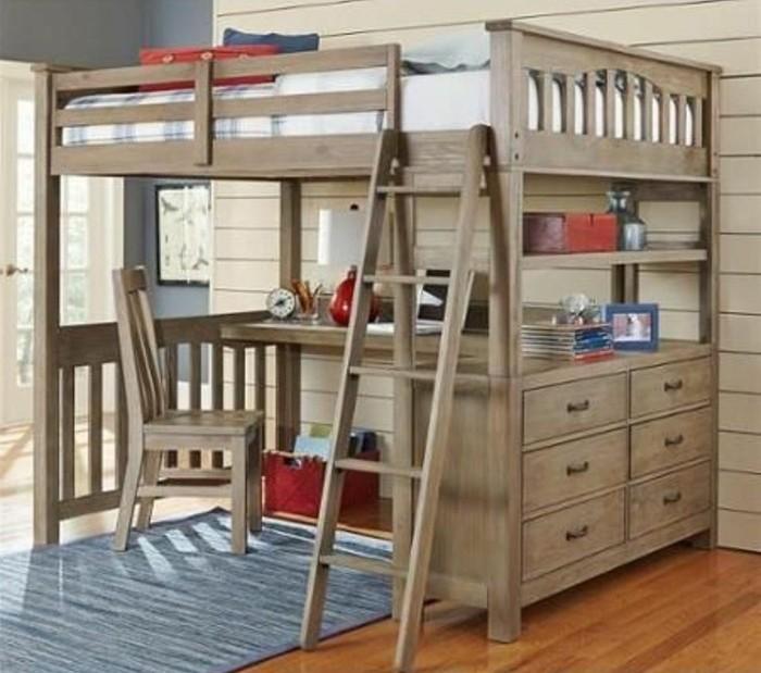 Lit en hauteur avec bureau int gr les atouts for Echelle pour lit en hauteur