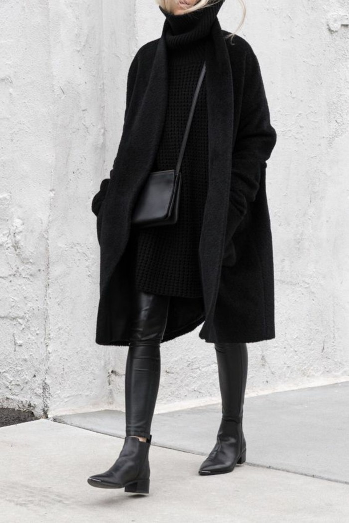 look-tout-noir-robe-pull-col-roule-bottes-cavalieres
