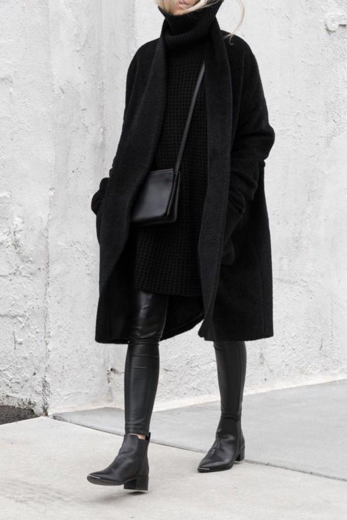 look-tout-noir-robe-pull-col-roule-bottes-cavalieres