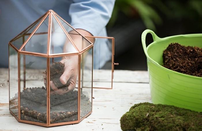 mettre-une-couche-de-terreau-au-dessus-du-fibre-en-verre-pour-fabriquer-un-terrarium-plante