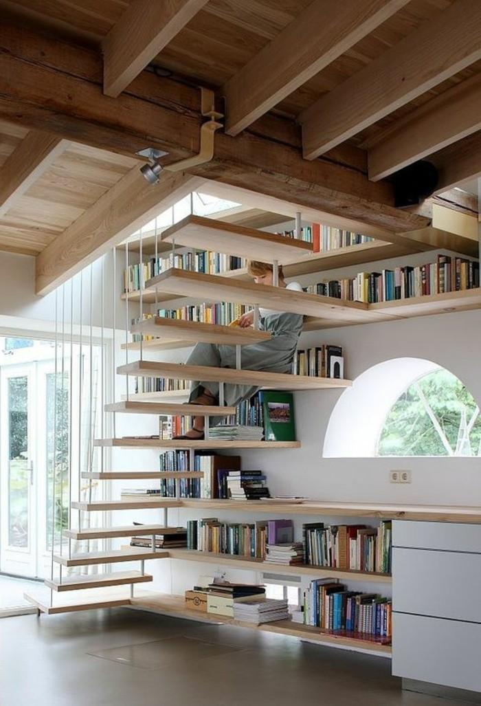 meuble-bibliotheque-et-escalier-flottant-en-bois