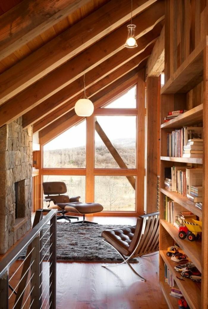La biblioth que murale en 65 photos inspirantes - Meubles style chalet ...