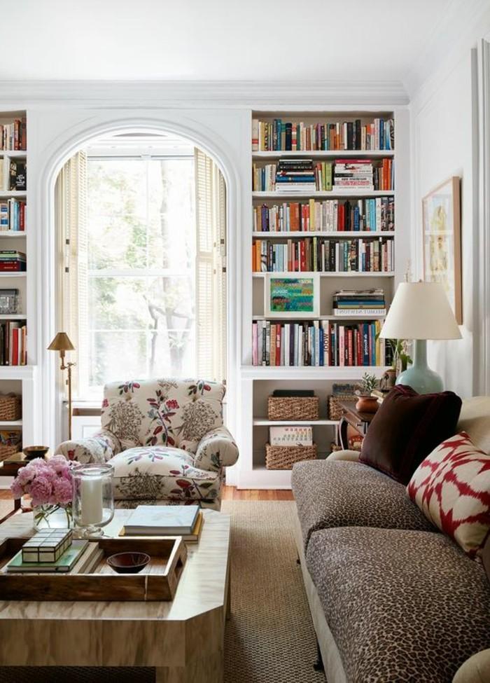 La biblioth que murale en 65 photos inspirantes for Etagere murale pour salon