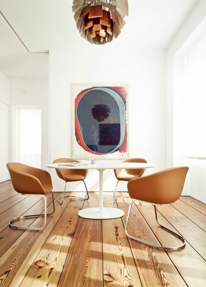 meubles-de-salle-a-manger-table-blanche-ronde-chaises-marron