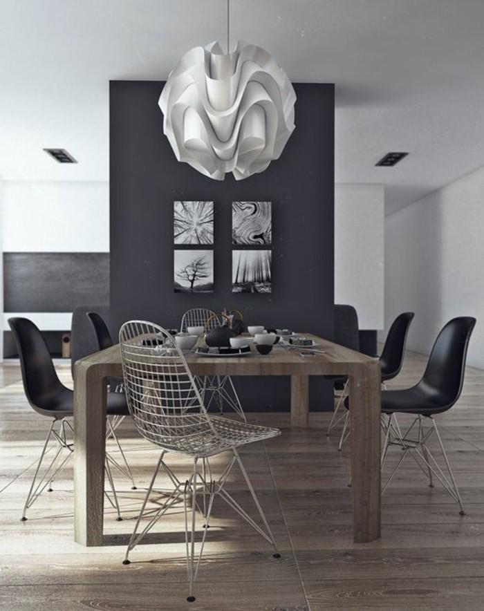 meubles-de-salle-a-manger-table-en-bois-rectangulaire-chaises-noires