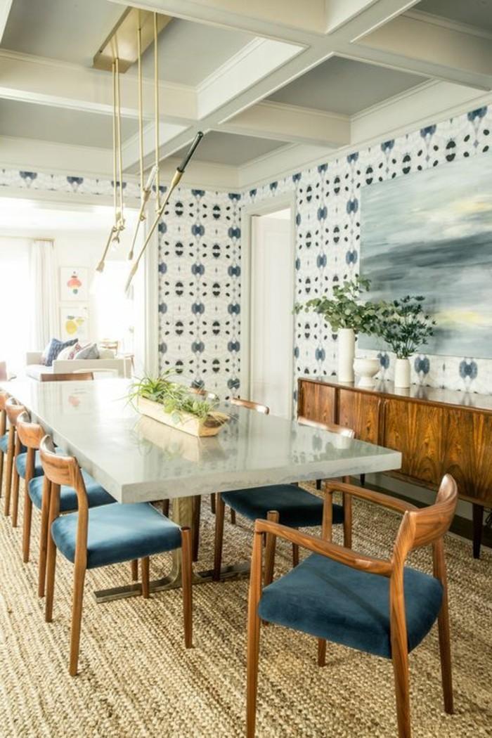 meubles-de-salle-a-manger-table-rectangulaire-et-chaises-vintage
