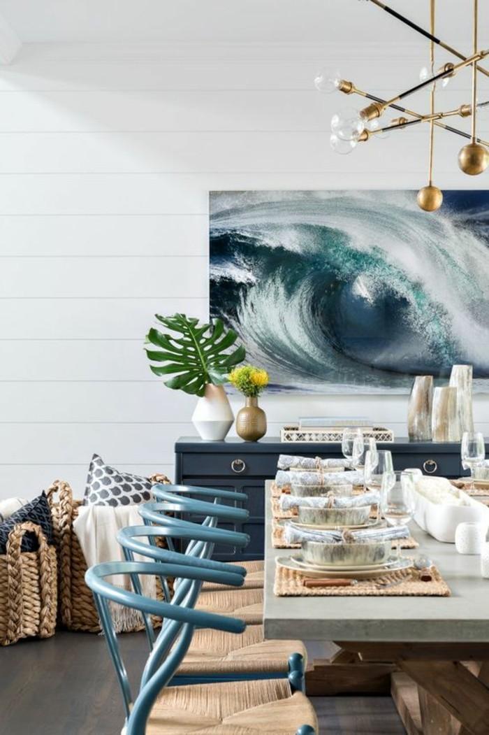 meubles-de-salle-a-manger-tableau-a-theme-marin-chaises