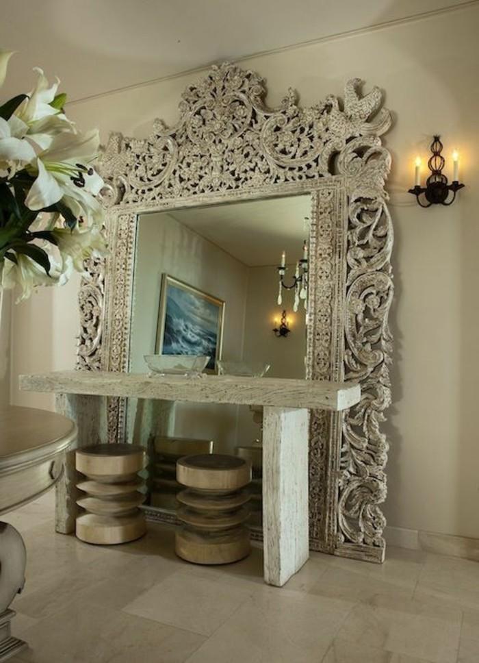 miroir-mural-grande-taille-table-coiffeuse-originale-et-tabourets-de-bois