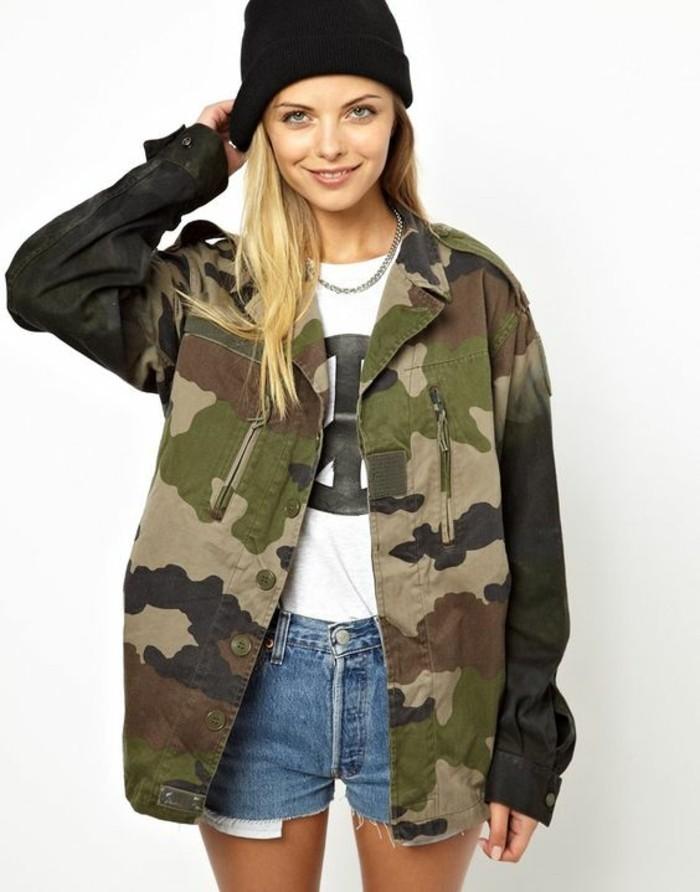 parka-militaire-femme-short-en-jean-imprime-camo