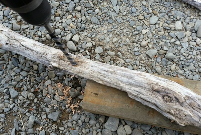 percer-des-trous-au-centre-d-une-branche-de-bois-pour-preparer-votre-sapin-en-bois-flotte