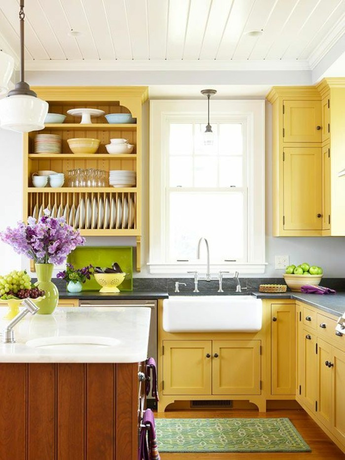 placard-de-cuisine-couleur-moutarde-deco-cuisine-traditionnelle
