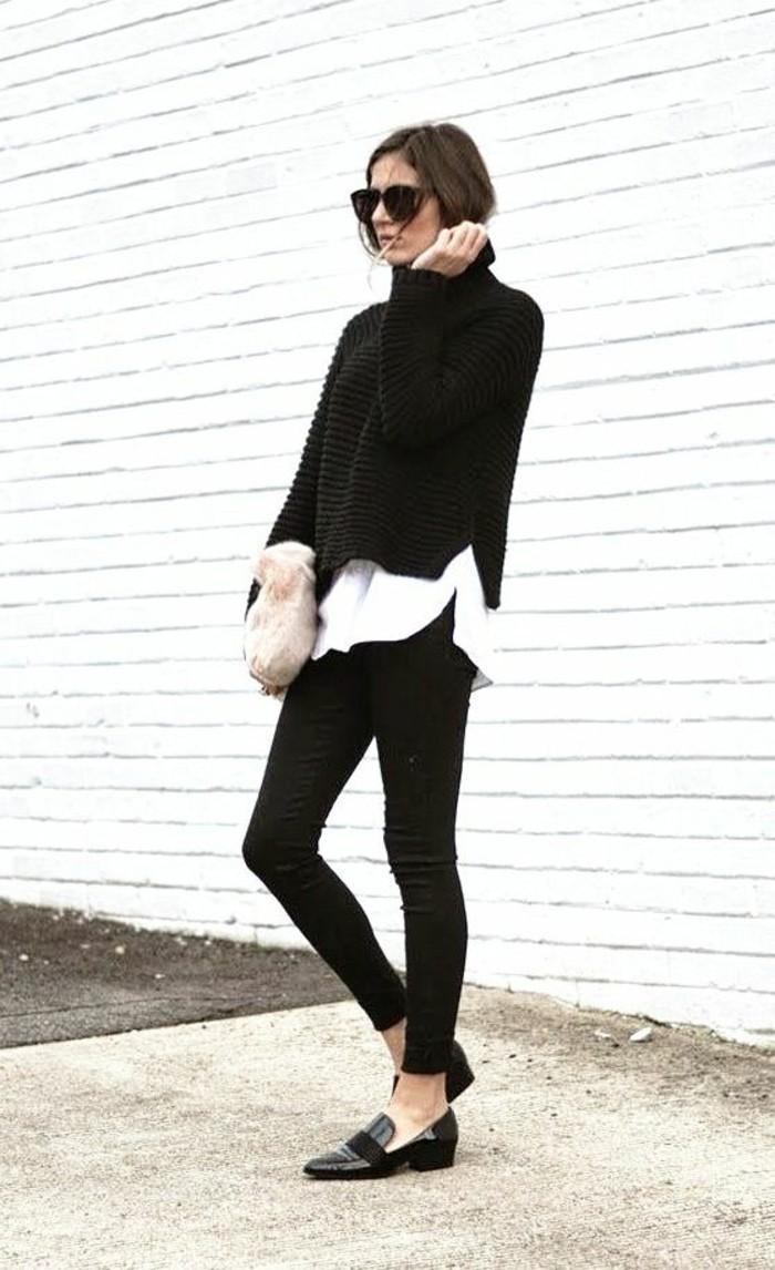 pull-chaud-femme-et-chemise-blanche-col-roule-noir