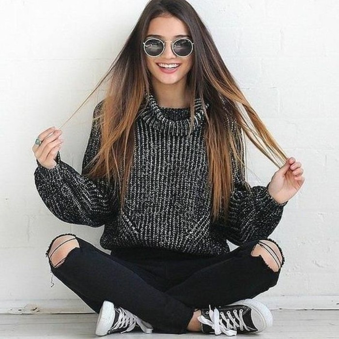 pull-chaud-femme-noir-et-blanc-style-casual-chic