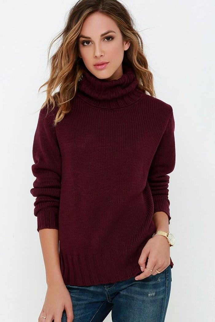 pull-col-roule-femme-style-casual-couleur-bordeaux-jean