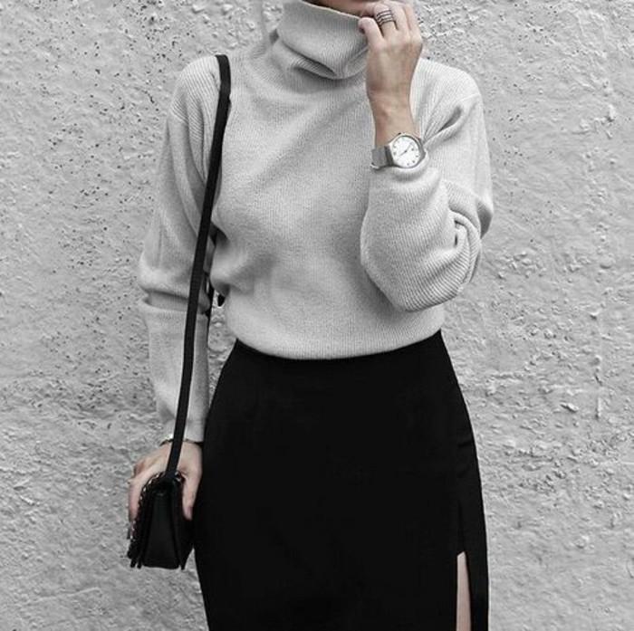 pull-en-laine-femme-pull-gris-jupe-noire-montre-stylee
