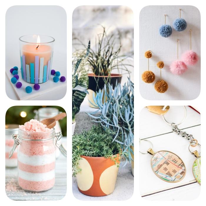 plusieurs idées cadeaux à faire soi même, pot de fleur customisé, gommage maison corps, bougie, boucle d oreille diy et porte clé diy