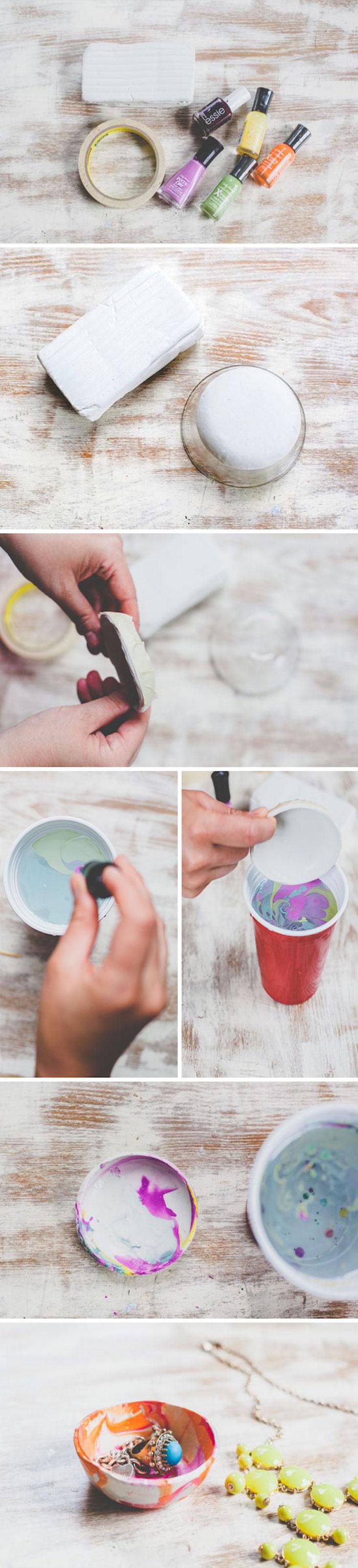 coupelle à bijoux customisée à vernis à ongle motif marbre coloré, idée rangement bijou à faire comme cadeau a faire soi meme pour anniversaire