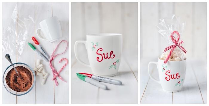 une tasse blanche customisée de prénom avec motifs de noel et un sachet de marshmallow et cacao pour faire chocolat chaud, cadeau de noel fait maison