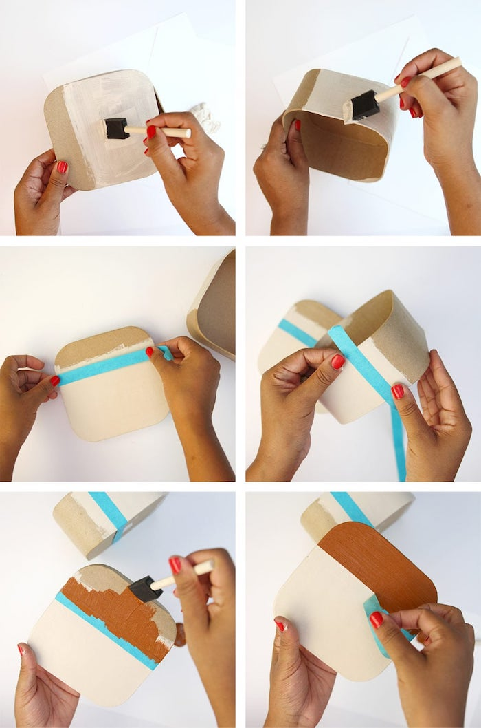 comment repeindre une boite de carton, idee fabrication boîte à souvenirs avec photos instagram, cadeau diy