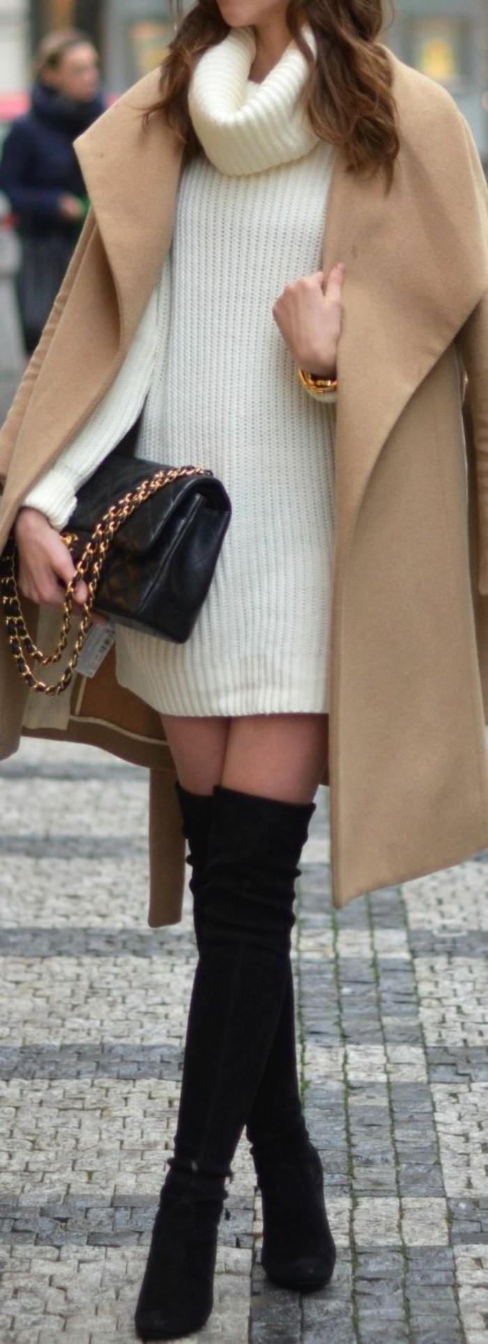 robe-pull-col-roule-elegante-bottes-cavalieres-manteau-camel