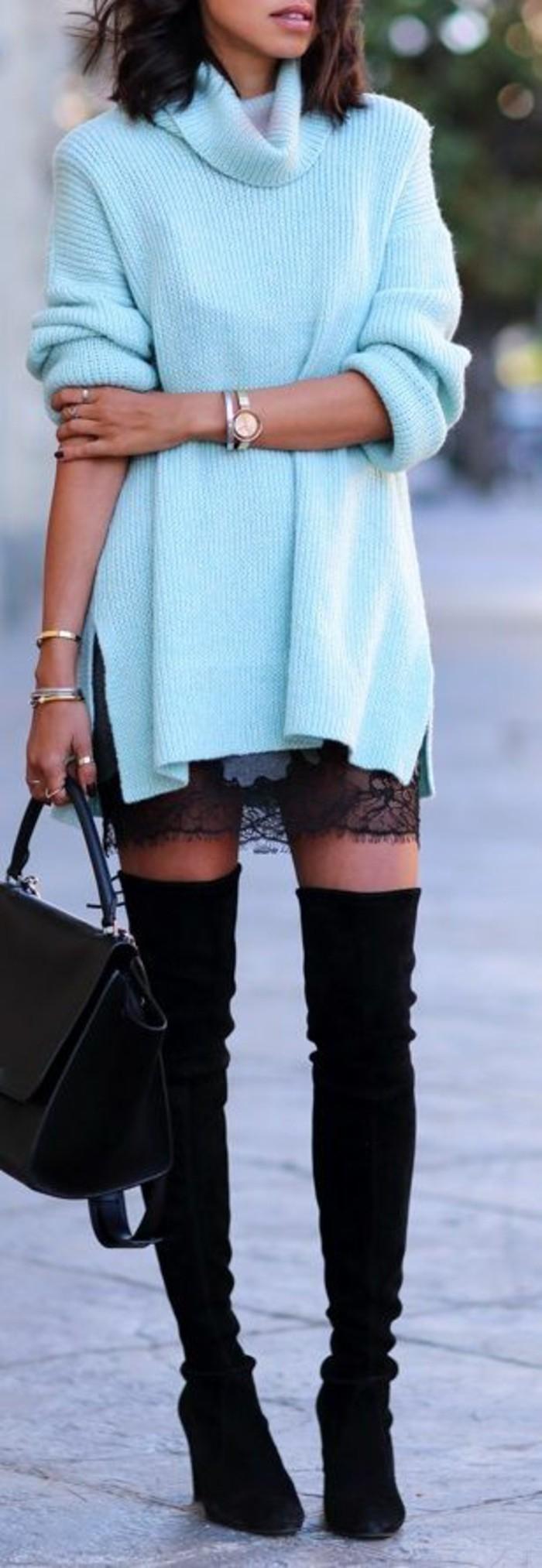 robe-pull-col-roule-robe-noire-en-dentelle-dessous-bottes-cavalieres