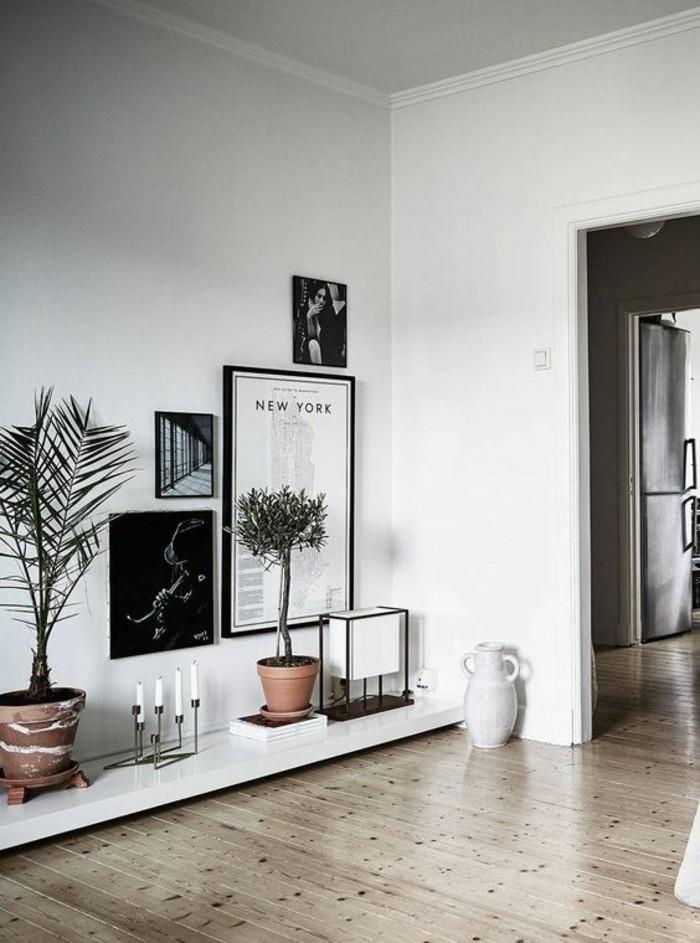 ... -blanc-noir-parquet-chene-massif-clair-idee-rangement-chic-mur-blanc