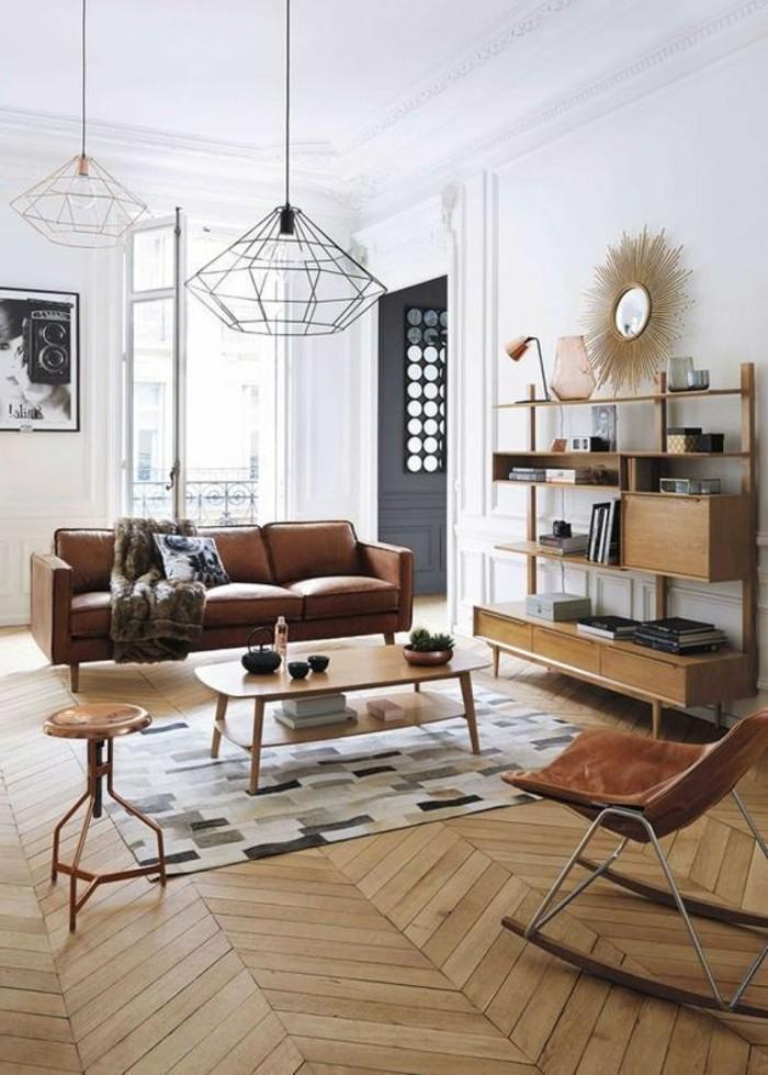 salon-chaise-cuire-marron-tapis-colore-meubles-en-bois-interieur-classique