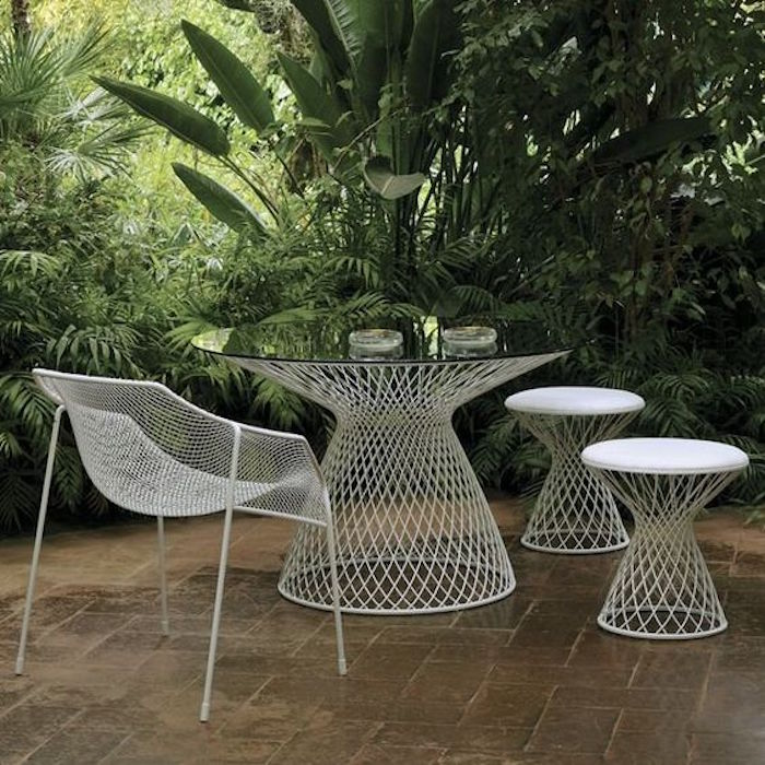 Beautiful Table Jardin Metal Blanc Pictures Home Design