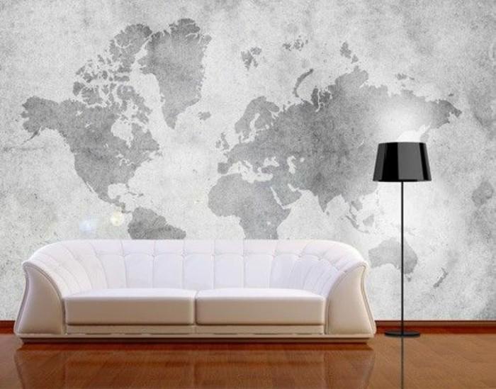 Exceptional Couleur Qui Donne Envie De Manger #3: Salon-moderne-carte-planisphère-gris-et-blanc-canapé-blanc.jpg