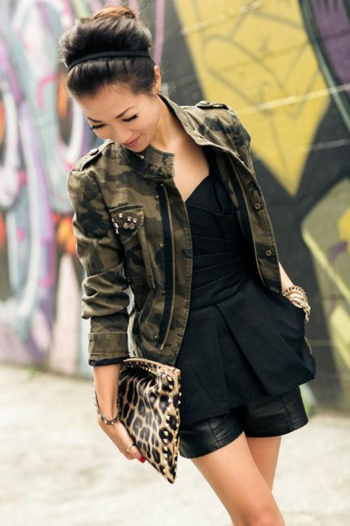 short-en-cuir-veste-camouflage-femme-mi-saison