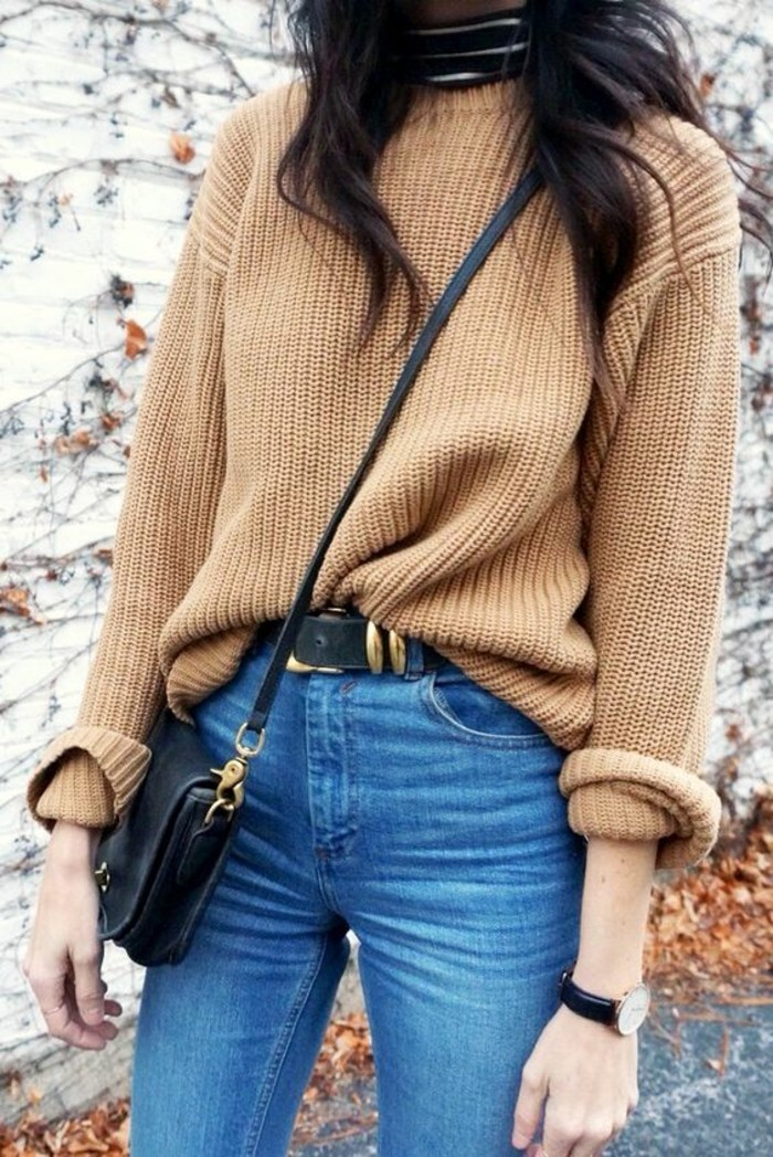 sous-pull-a-rayures-pull-chaud-femme-camel