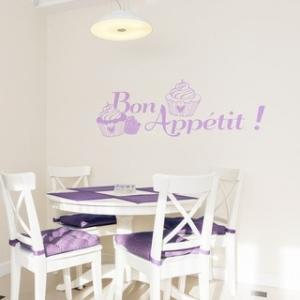 Modèle de stickers cuisine Bon Appétit et Cupcakes