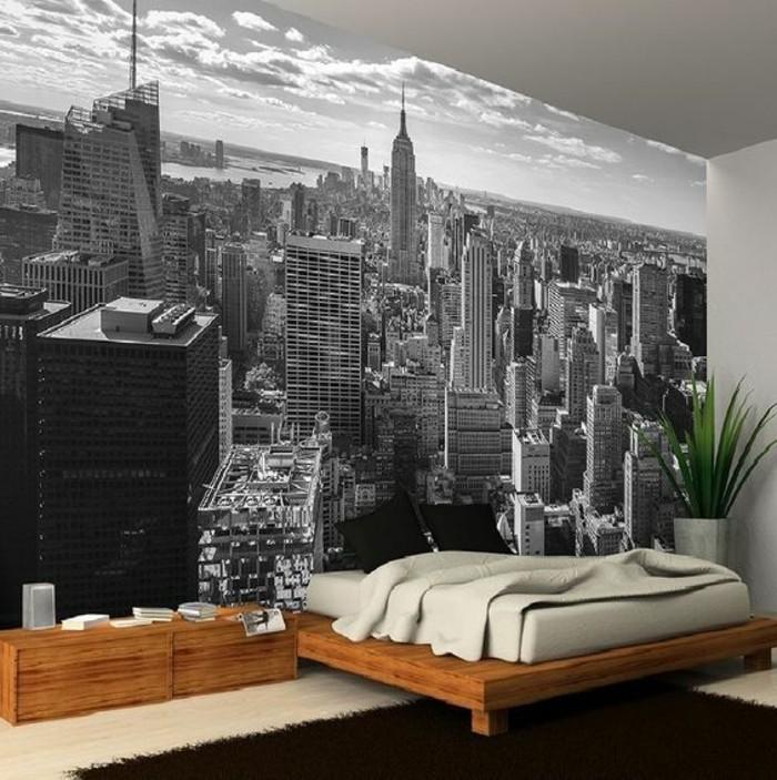 stickers-muraux-new-york-lit-flottant-et-petit-chevet-en-bois